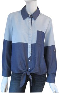 ECI New York Pointed Collar Front Colorblock Print Snap Buttons Fabric Front Tie Button Down Shirt Multi-Color Blue