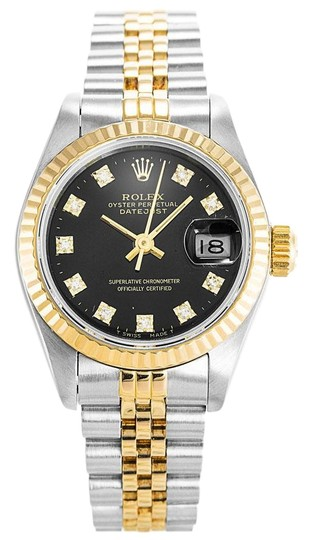 Preload https://img-static.tradesy.com/item/25292942/rolex-black-ladies-stainless-steelyellow-gold-diamond-dial-with-fluted-bezel-watch-0-1-540-540.jpg