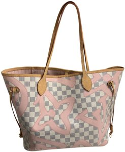 Louis Vuitton Damier Azur Tote in Pink and white