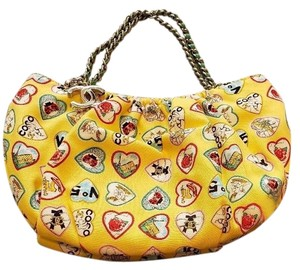 1cce22ec0767 Chanel Heart Charms Yellow Printed Canvas Shoulder Bag - Tradesy