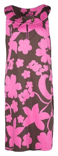 Preload https://img-static.tradesy.com/item/25293438/tory-burch-brown-and-pink-floral-printed-cotton-sleeveless-mid-length-short-casual-dress-size-12-l-0-1-650-650.jpg