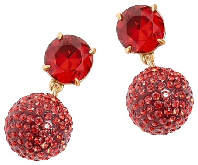 Item - Red Resin Crystals Ball Drops Earrings