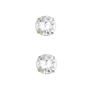 Top Gold & Diamond Jewelry 14k Yellow 7mm Round CZ Basket Stud Earrings - Silcone Push Back