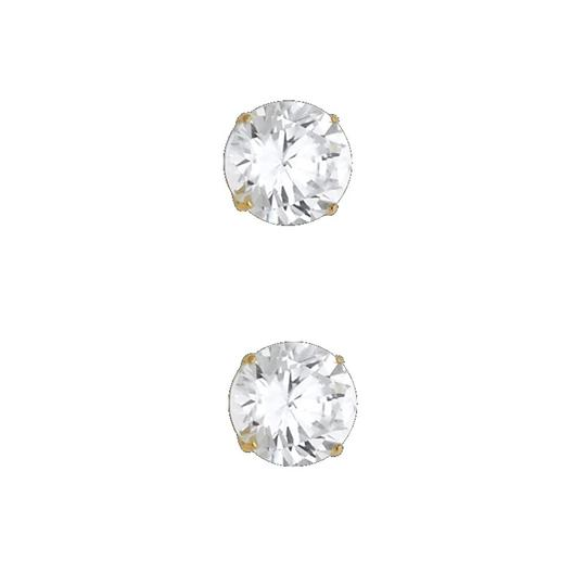 Top Gold & Diamond Jewelry 14k Yellow 7mm Round CZ Basket Stud Earrings - Silcone Push Back Image 0