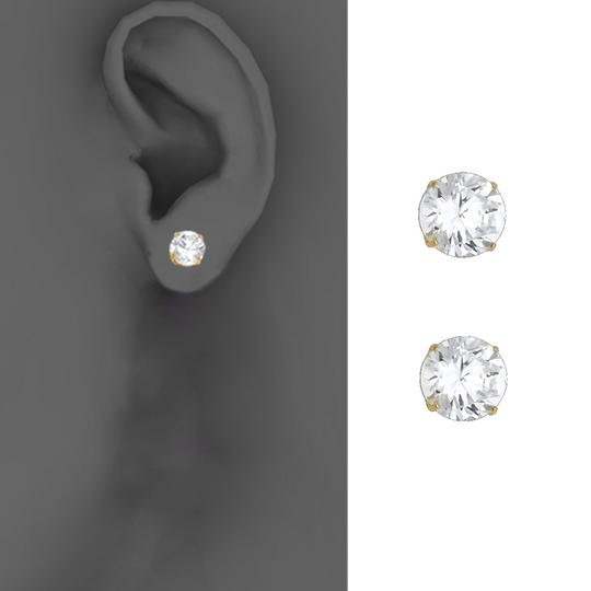 Top Gold & Diamond Jewelry 14k Yellow 7mm Round CZ Basket Stud Earrings - Silcone Push Back Image 2
