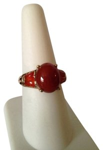 Red Agate & Carnelian Gemstone In 18kt Gold Over Brass Ring, Size 8