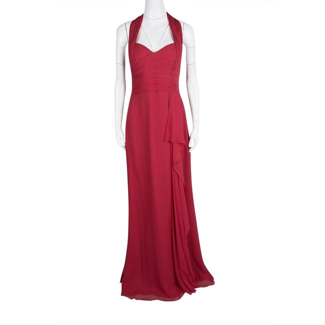 Red Maxi Dress by Marchesa Notte Silk Halter Chiffon Image 1