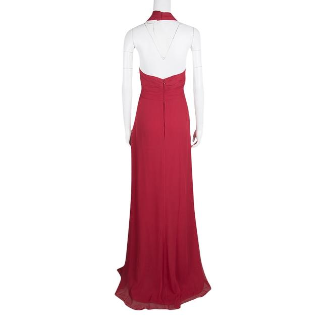 Red Maxi Dress by Marchesa Notte Silk Halter Chiffon Image 2