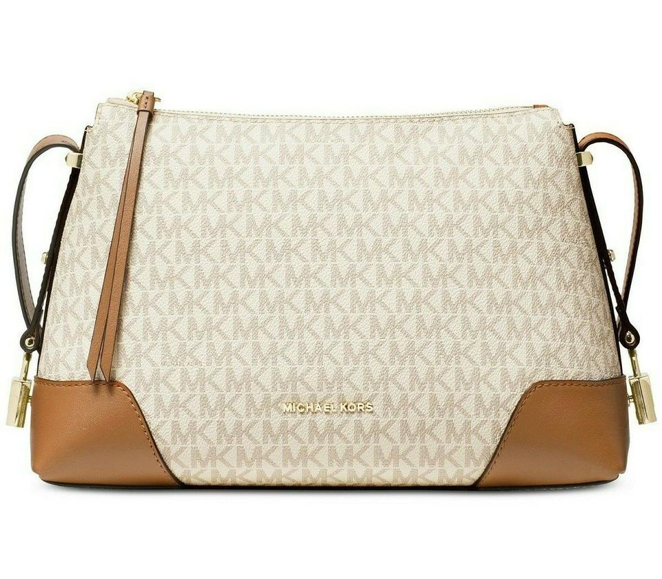 d150bb65d5a8 Michael Kors Messenger Crosby Signature Vanilla/Acorn Leather Cross ...