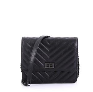 Chanel Chanel So Black Reissue Square Wallet on Chain Chevron Aged Calfskin