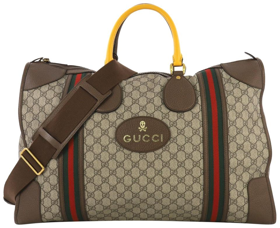 3c1e6f21ab58 Gucci Web Convertible Duffle Gg Coated Large Beige Canvas Weekend ...
