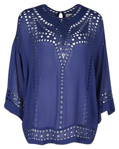 Isabel Marant Detail Embroidered Sleeveless Top Navy Blue