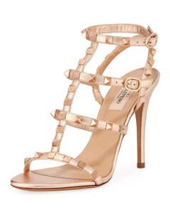 Valentino Rockstud Caged Rame Metallic Napa Leather Sandals