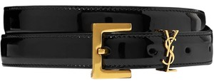 Saint Laurent Embellished patent-leather belt Size 70