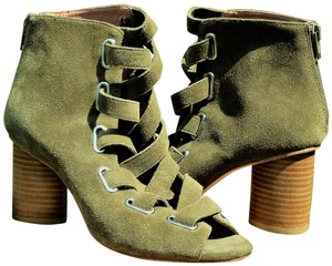Jeffrey Campbell Suede / Leather Back Zipper Lace Sandals Olive Green Boots