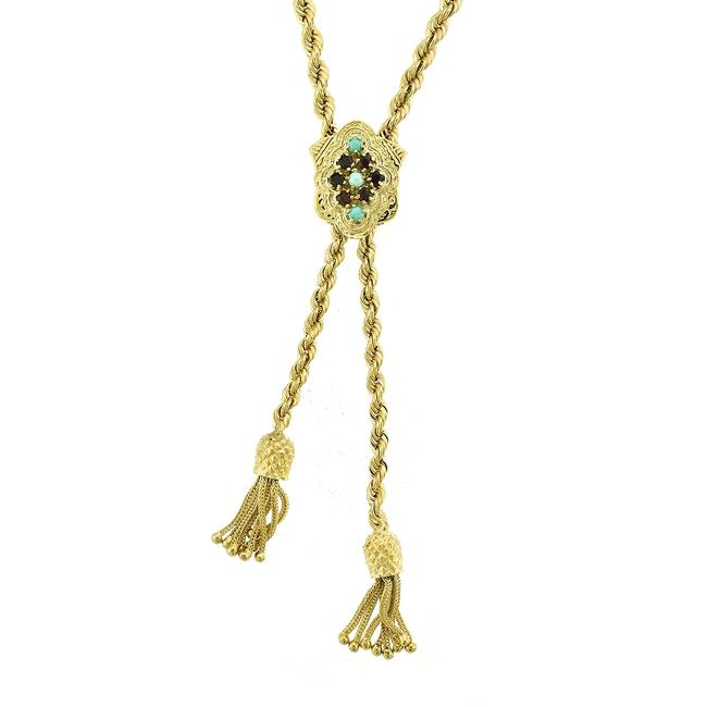 Item - 14k Yellow Gold Vintage Lariat Turquoise and Garnet Pineapple Tassels Necklace