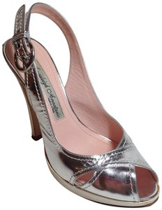 Angeleigh Anastasio Leather Platform Slingback Silver/ white Pumps