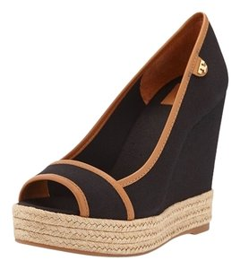 Tory Burch Black/Tan Wedges
