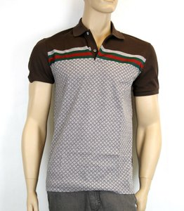 Gucci Multi-color W Men's Diamante Polo Top W/Grg Web S 251623 2479 Shirt
