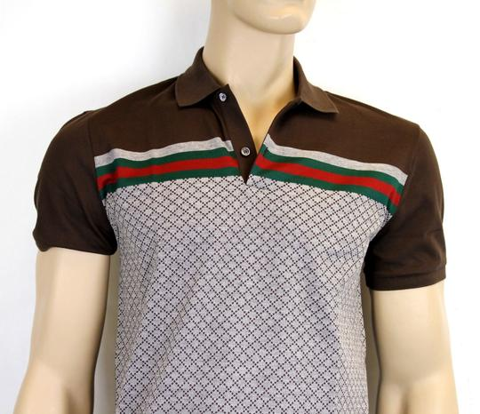 Gucci Multi-color W Men's Diamante Polo Top W/Grg Web S 251623 2479 Shirt Image 1