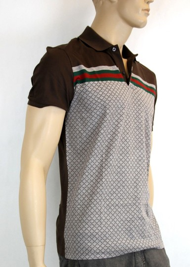 Gucci Multi-color W Men's Diamante Polo Top W/Grg Web S 251623 2479 Shirt Image 2