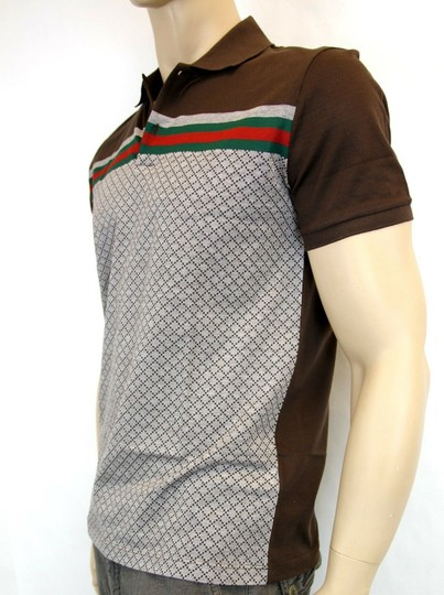 Gucci Multi-color W Men's Diamante Polo Top W/Grg Web S 251623 2479 Shirt Image 3