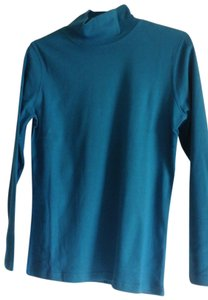 Norm Thompson Casual Turtleneck Cotton T Shirt Teal