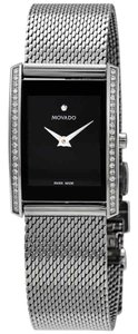 Movado La Nouvelle Diamond Stainless Steel Quartz Rectangle Ladies Watch