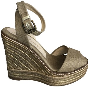 Jean-Michel Cazabat Espadrille Gold/Brown Wedges