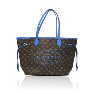 Louis Vuitton Neverfull Mm Limited Edition Tote in brown/blue