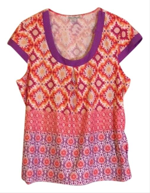 Item - Pink Purple Orange Stretch Damask Striped Pattern Colorblock Stretch Short Sleeves Blouse Size 12 (L)