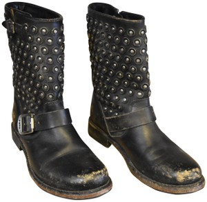 Frye Studded Silver Leather Black Boots