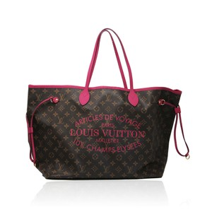 Louis Vuitton Neverfull Rose Ikat Tote in Brown/Pink