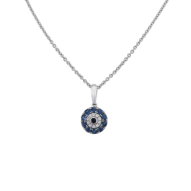 Item - 14k White Gold 0.40ct Cttw Diamond Sapphire Black Diamond Evil Eye Italy Necklace