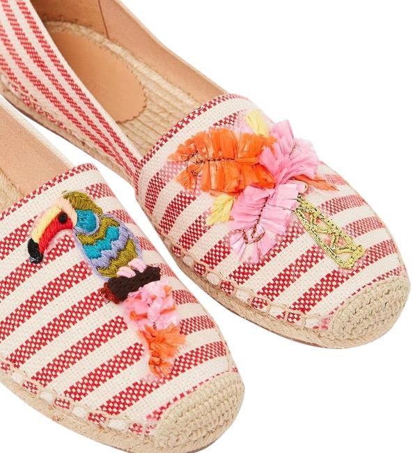 Item - Red Ivory Fabric Espadrilles Raffia Parrot and Palm Tree Flats Size US 8.5 Regular (M, B)