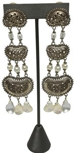 Stephen Dweck Silver and pearl chandelier earrings
