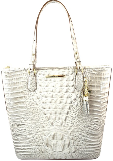 Item - Asher Light Grey Seashell Melbourne Leather Tote