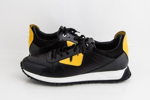 Fendi Black Bugs Sneakers and Yellow Leather Lace-up Shoes