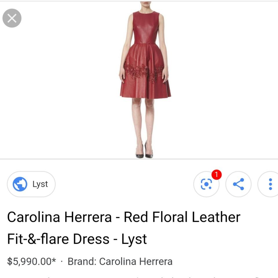 c8162ecfcde Carolina Herrera Red Fit   Flare Leather Flower Applique Mid-length Formal  Dress Size 10 (M) - Tradesy