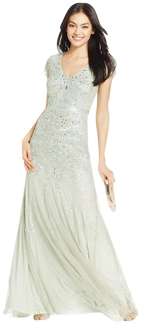 Item - Mint Green Cap-sleeve Beaded Embellished Gown Long Formal Dress Size 6 (S)