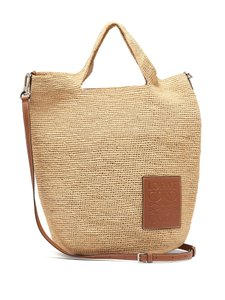 Loewe Straw Raffia Summer Vacation Beach Tote in Tan