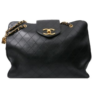 cc65ecac2556 Chanel Vintage Lambskin Tote Overnight Black Travel Bag