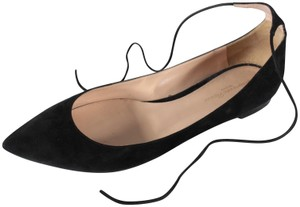 Gianvito Rossi Suede Ankle Strap Black Flats