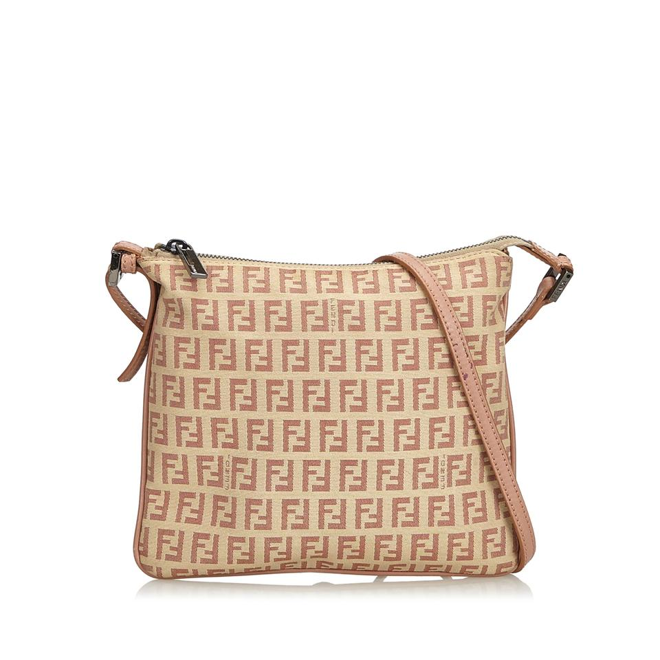 ed12eb2044 Fendi Fabric Zucchino Italy Small Pink Canvas Leather Cross Body Bag ...
