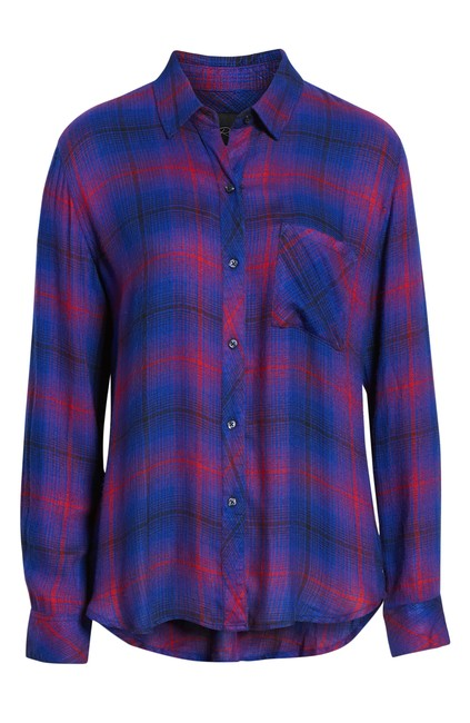 Item - Electric Blue/Pink Hunter Plaid Shirt Button-down Top Size 4 (S)
