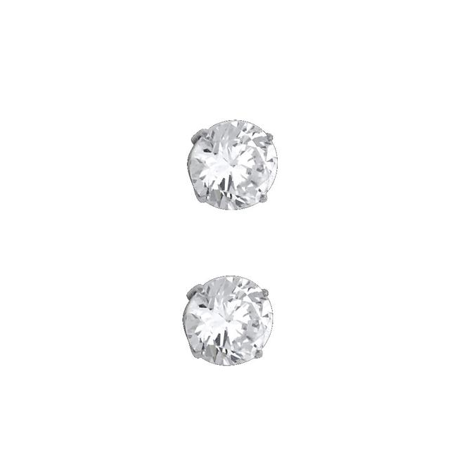 Item - White 14k 8mm Round Cz Basket Stud Silcone Push Back Earrings