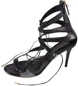 Nicholas Kirkwood Snakeskin Lace Up Black Sandals