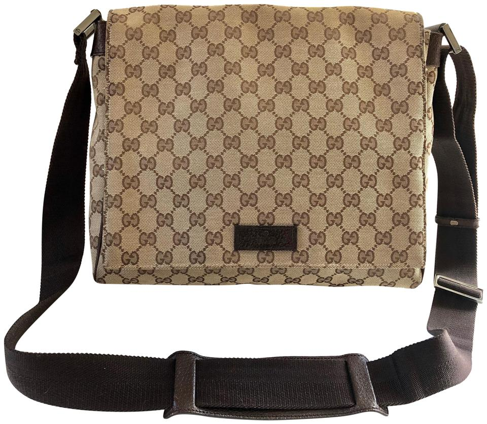 326fb2d53995f0 Gucci Messenger Web Gg Monogram Beige Canvas Cross Body Bag - Tradesy