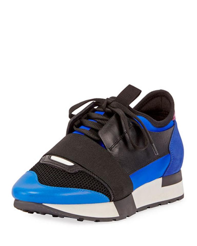 Balenciaga Blue Race Runner White Sapphire Black Leather Speed Trainer Sneakers Size EU 42 (Approx. US 12) Regular (M, B)