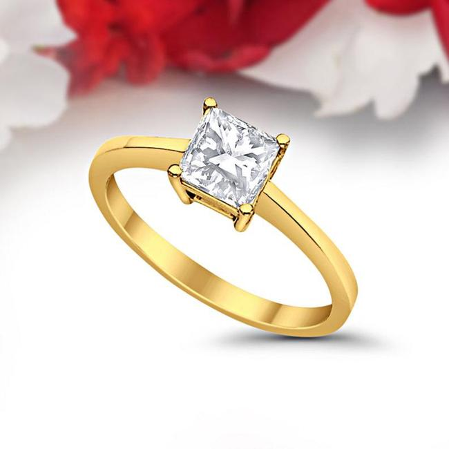 Item - Yellow Gold 1ct Princess Cut Solitaire 14k Engagement Ring